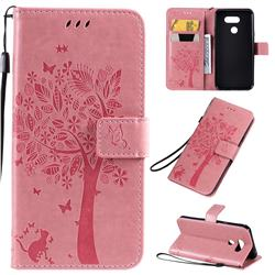 Embossing Butterfly Tree Leather Wallet Case for LG K40S - Pink
