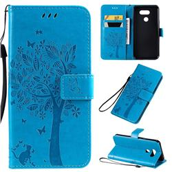 Embossing Butterfly Tree Leather Wallet Case for LG K40S - Blue