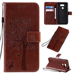 Embossing Butterfly Tree Leather Wallet Case for LG K40S - Coffee