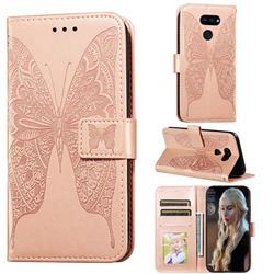 Intricate Embossing Vivid Butterfly Leather Wallet Case for LG K40S - Rose Gold