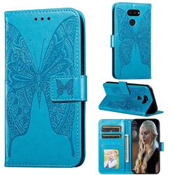 Intricate Embossing Vivid Butterfly Leather Wallet Case for LG K40S - Blue