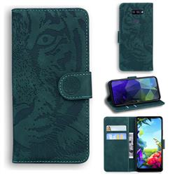Intricate Embossing Tiger Face Leather Wallet Case for LG K40S - Green
