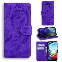 Intricate Embossing Tiger Face Leather Wallet Case for LG K40S - Purple
