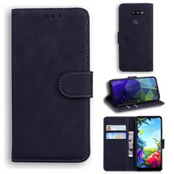 Retro Classic Skin Feel Leather Wallet Phone Case for LG K40S - Black