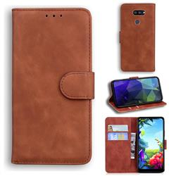 Retro Classic Skin Feel Leather Wallet Phone Case for LG K40S - Brown