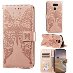 Intricate Embossing Rose Flower Butterfly Leather Wallet Case for LG K40S - Rose Gold
