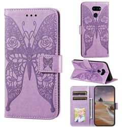 Intricate Embossing Rose Flower Butterfly Leather Wallet Case for LG K40S - Purple