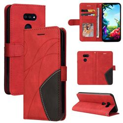 Luxury Two-color Stitching Leather Wallet Case Cover for LG K40S - Red