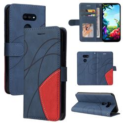Luxury Two-color Stitching Leather Wallet Case Cover for LG K40S - Blue