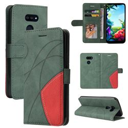 Luxury Two-color Stitching Leather Wallet Case Cover for LG K40S - Green