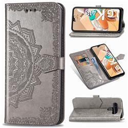 Embossing Imprint Mandala Flower Leather Wallet Case for LG K41S - Gray