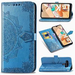 Embossing Imprint Mandala Flower Leather Wallet Case for LG K41S - Blue