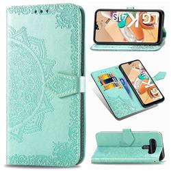 Embossing Imprint Mandala Flower Leather Wallet Case for LG K41S - Green