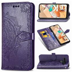 Embossing Imprint Mandala Flower Leather Wallet Case for LG K41S - Purple