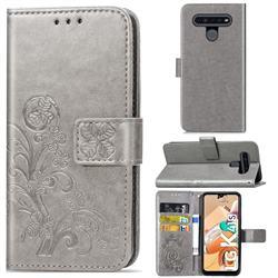 Embossing Imprint Four-Leaf Clover Leather Wallet Case for LG K41S - Grey