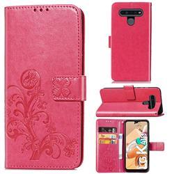 Embossing Imprint Four-Leaf Clover Leather Wallet Case for LG K41S - Rose Red