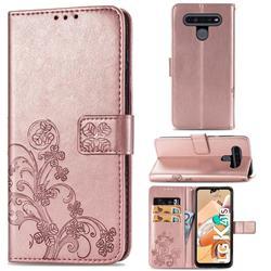Embossing Imprint Four-Leaf Clover Leather Wallet Case for LG K41S - Rose Gold