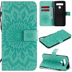 Embossing Sunflower Leather Wallet Case for LG K41S - Green
