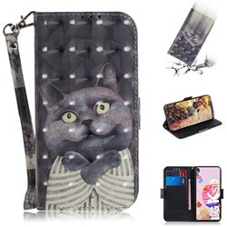 Cat Embrace 3D Painted Leather Wallet Phone Case for LG K41S