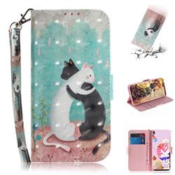 Black and White Cat 3D Painted Leather Wallet Phone Case for LG K41S