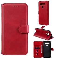 Retro Calf Matte Leather Wallet Phone Case for LG K41S - Red