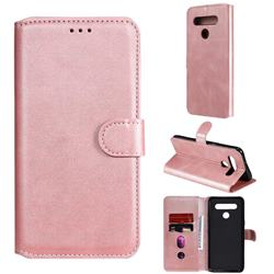 Retro Calf Matte Leather Wallet Phone Case for LG K41S - Pink