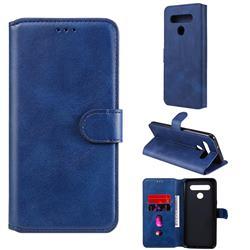 Retro Calf Matte Leather Wallet Phone Case for LG K41S - Blue