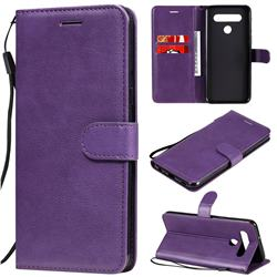 Retro Greek Classic Smooth PU Leather Wallet Phone Case for LG K41S - Purple