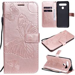 Embossing 3D Butterfly Leather Wallet Case for LG K41S - Rose Gold