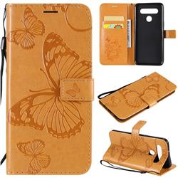 Embossing 3D Butterfly Leather Wallet Case for LG K41S - Yellow