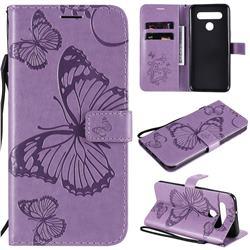 Embossing 3D Butterfly Leather Wallet Case for LG K41S - Purple