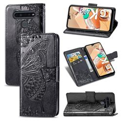 Embossing Mandala Flower Butterfly Leather Wallet Case for LG K41S - Black