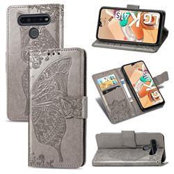 Embossing Mandala Flower Butterfly Leather Wallet Case for LG K41S - Gray