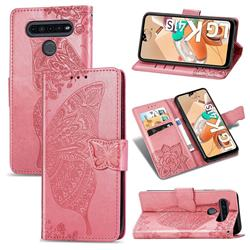 Embossing Mandala Flower Butterfly Leather Wallet Case for LG K41S - Pink