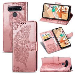 Embossing Mandala Flower Butterfly Leather Wallet Case for LG K41S - Rose Gold