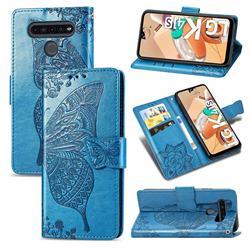 Embossing Mandala Flower Butterfly Leather Wallet Case for LG K41S - Blue