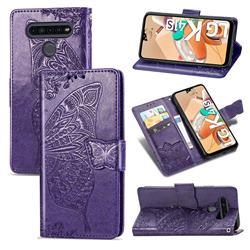 Embossing Mandala Flower Butterfly Leather Wallet Case for LG K41S - Dark Purple