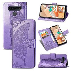 Embossing Mandala Flower Butterfly Leather Wallet Case for LG K41S - Light Purple