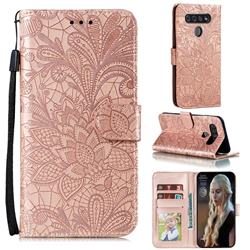 Intricate Embossing Lace Jasmine Flower Leather Wallet Case for LG K41S - Rose Gold