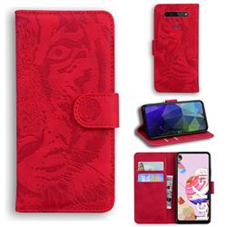 Intricate Embossing Tiger Face Leather Wallet Case for LG K41S - Red