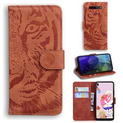Intricate Embossing Tiger Face Leather Wallet Case for LG K41S - Brown