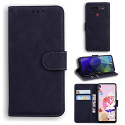 Retro Classic Skin Feel Leather Wallet Phone Case for LG K41S - Black