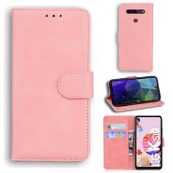 Retro Classic Skin Feel Leather Wallet Phone Case for LG K41S - Pink