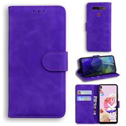 Retro Classic Skin Feel Leather Wallet Phone Case for LG K41S - Purple