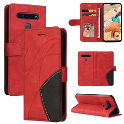 Luxury Two-color Stitching Leather Wallet Case Cover for LG K41S - Red