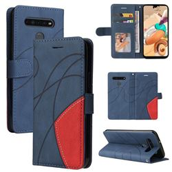 Luxury Two-color Stitching Leather Wallet Case Cover for LG K41S - Blue