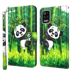 Climbing Bamboo Panda 3D Painted Leather Wallet Case for LG K42 K52 Q52