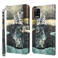 Tiger and Cat 3D Painted Leather Wallet Case for LG K42 K52 Q52