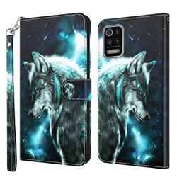 Snow Wolf 3D Painted Leather Wallet Case for LG K42 K52 Q52