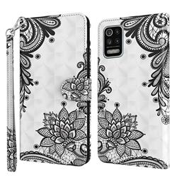 Black Lace Flower 3D Painted Leather Wallet Case for LG K42 K52 Q52